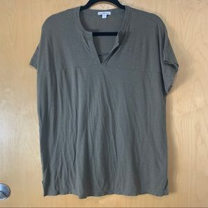 Standard James Perse Army Green V-neck Short Top
